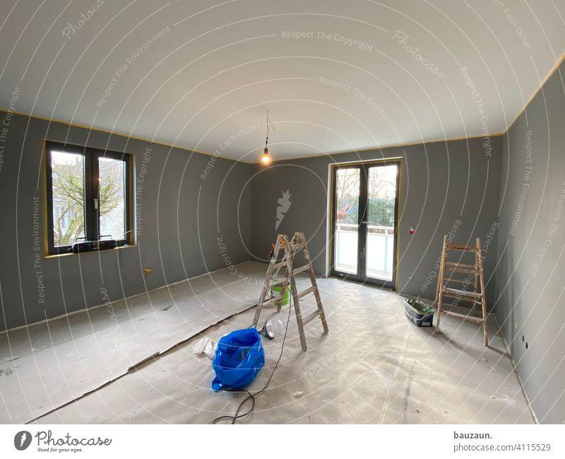 grau bis sonnig. Wand wandfarbe Wandfarbe Farbe Renovieren Innenaufnahme Innenarchitektur Design streichen Anstreicher Handwerk Maler Arbeit & Erwerbstätigkeit
