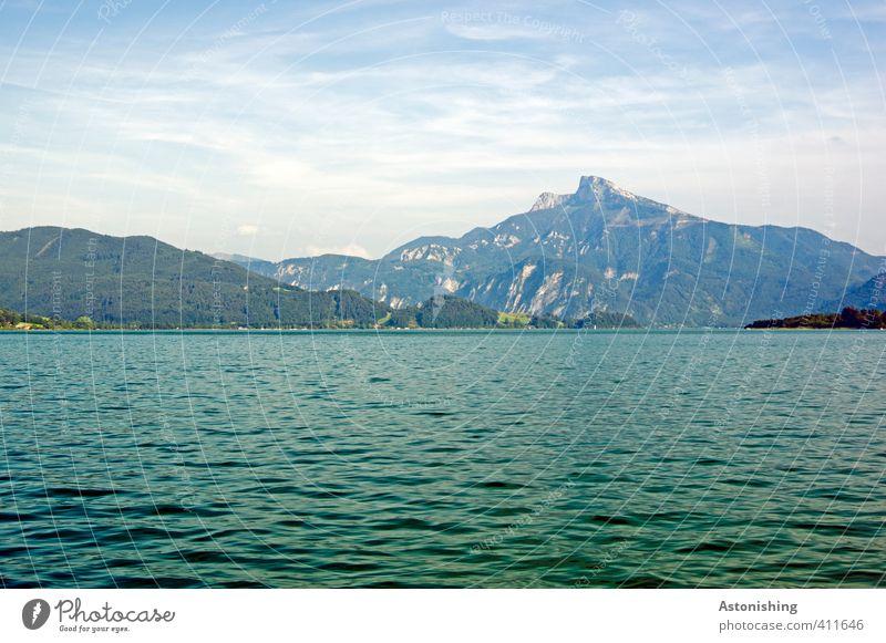 der Schafberg Umwelt Natur Landschaft Luft Wasser Himmel Wolken Horizont Sommer Wetter Schönes Wetter Wärme Baum Wald Hügel Felsen Alpen Berge u. Gebirge Gipfel