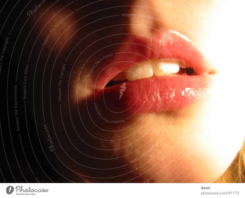 Mund rot Frau feminin Lippen gleich küssen