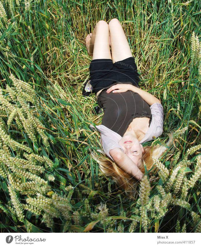 Schlafend Mensch Frau Jugendliche Ferien & Urlaub & Reisen schön Erholung ruhig Erwachsene 18-30 Jahre Erotik Gefühle feminin träumen Stimmung liegen Feld