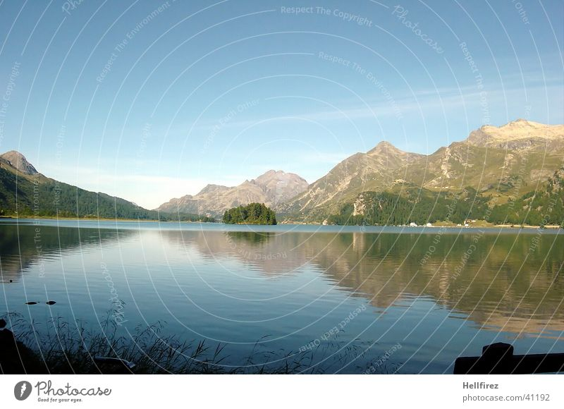 Idylle Wolken Berge u. Gebirge See Landschaft Küste Alpen Blauer Himmel