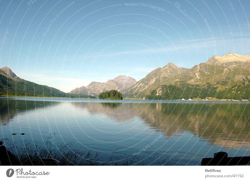 Idylle Wolken See Reflexion & Spiegelung Berge u. Gebirge Alpen Blauer Himmel Landschaft Küste