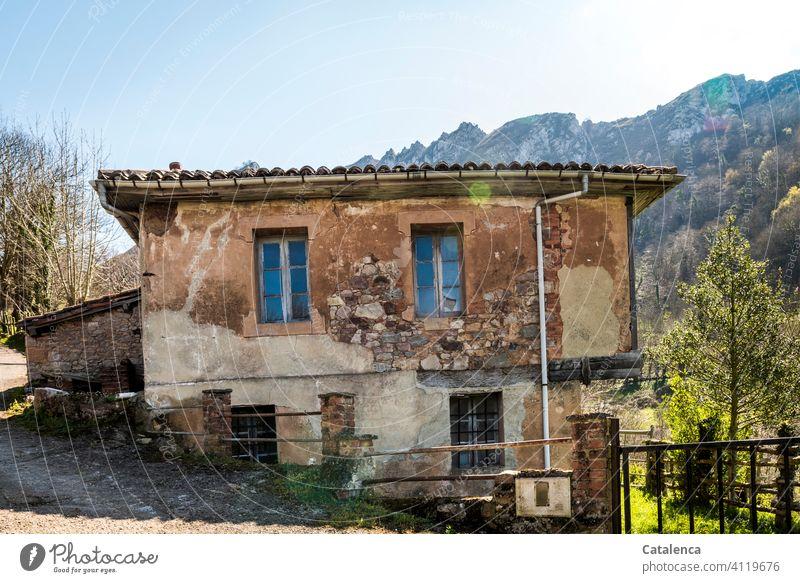 Haus in Hanglage in den Bergen Natur Landschaft Gebirge Gebäude Architektur renovierungsbedürftig Fenster Türe Dach Fassade Fallrohr alt verwittert