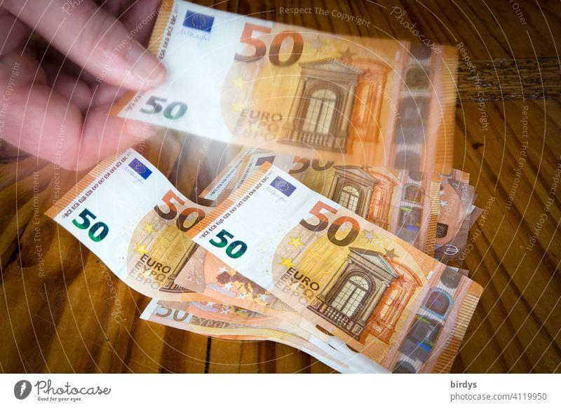 Geld zählen, 50-Euroscheine , Banknoten 50 Euro Hand Bargeld Geldscheine viele Kassensturz Erfolg Finanzen sparen bezahlen Investition Business