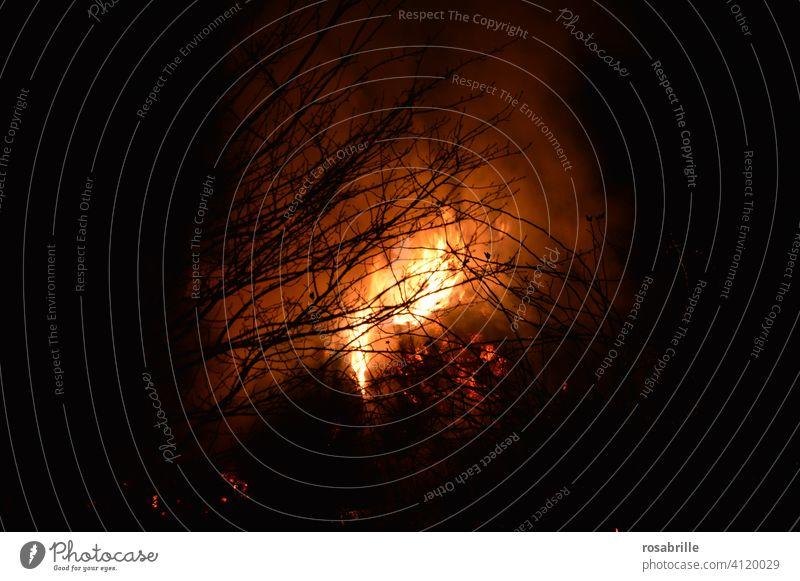 Inferno | Illusion Feuer Feuersbrunst Brand Waldbrand Lagerfeuer Osterfeuer Flammen heiß Holz Wärme warm Hitze Licht hell Nacht brennen verbrennen Gefahr