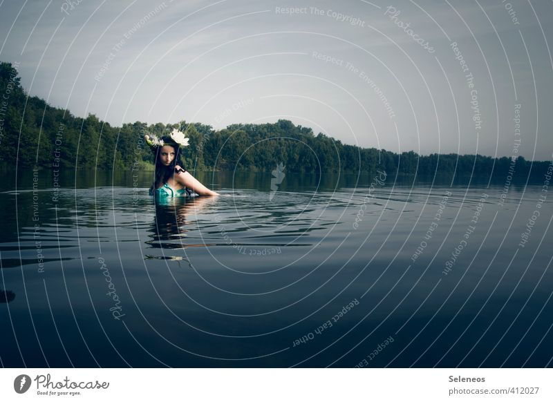 Seejungfrau Ferien & Urlaub & Reisen Ausflug Ferne Freiheit Mensch feminin Frau Erwachsene 1 Umwelt Natur Landschaft Wasser Himmel Horizont Sommer