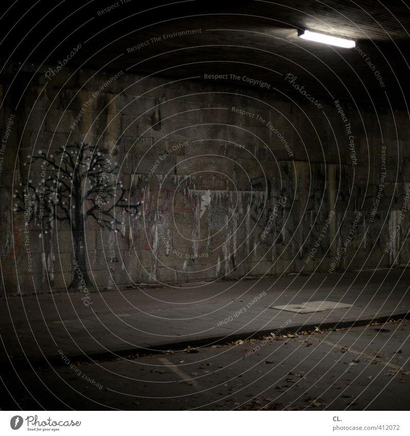 schattengewächs Umwelt Natur Baum Stadt Mauer Wand Straße Wege & Pfade Tunnel Brücke verblüht dunkel trist grau Sehnsucht Einsamkeit Angst Zukunftsangst