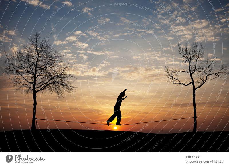sunset slack Lifestyle Stil Freude Freizeit & Hobby Freiheit Sport Fitness Sport-Training Sportler Mensch Mann Erwachsene Jugendliche Körper 1 Natur Himmel