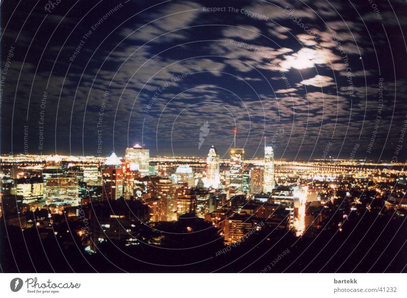 New York @ night New York City Nacht Panorama (Aussicht) Langzeitbelichtung Gebäude Wolken Architektur groß