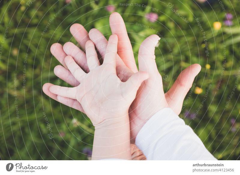 Junge Familie hält Hände zusammen über einer Blumenwiese jung hände Junger Mann Junge Frau Kind Kindheit Zusammensein Zusammenhalt zusammengehörig