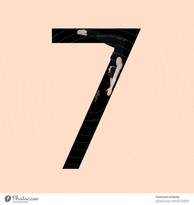 Grafik zeigt schwarzfarbige Zahl 7 vor hautfarbenem Hintergrund und integrierter fotografischer Ganzkörperaufnahme einer posierenden brünetten Frau mit Bob Frisur in schwarzem Einteiler