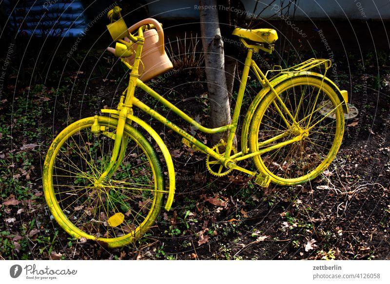 Gelbes Fahrrad - 7500 abend ast baum dunkel dämmerung garten himmel kleingarten kleingartenkolonie menschenleer natur schrebergarten stamm strauch textfreiraum