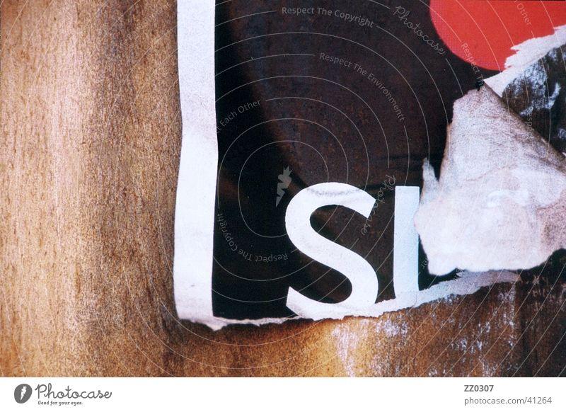 si Wand Holz kaputt Dinge Typographie Plakat
