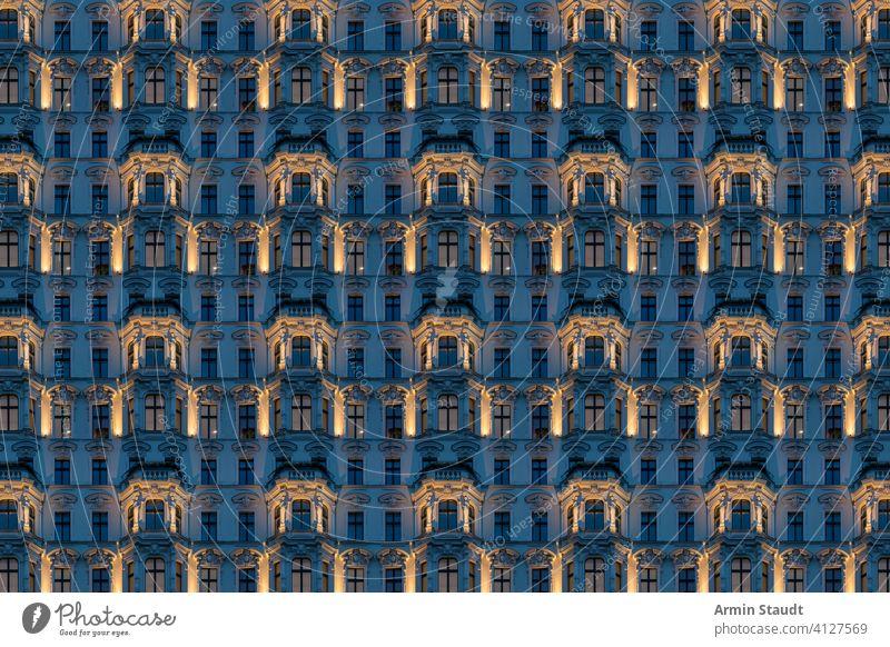 Architektonisches Muster, Altbau bei Nacht mit beleuchtetem Stuck übergangslos Architektur alt Haus Bildhauerei Abend Fenster Fassade Gebäude flach wirklich