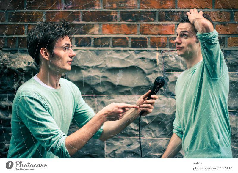 weiche Hirnschmelze Veranstaltung Mensch maskulin Junger Mann Jugendliche 2 18-30 Jahre Erwachsene Kultur Show Medien Mauer Wand Coolness lustig grün