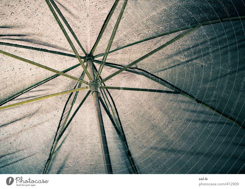 Unterschlupf Wasser Wassertropfen Wetter schlechtes Wetter Regen Regenschirm nass Sicherheit Schutz Geborgenheit Zufluchtsort regendicht Material kalt bedecken