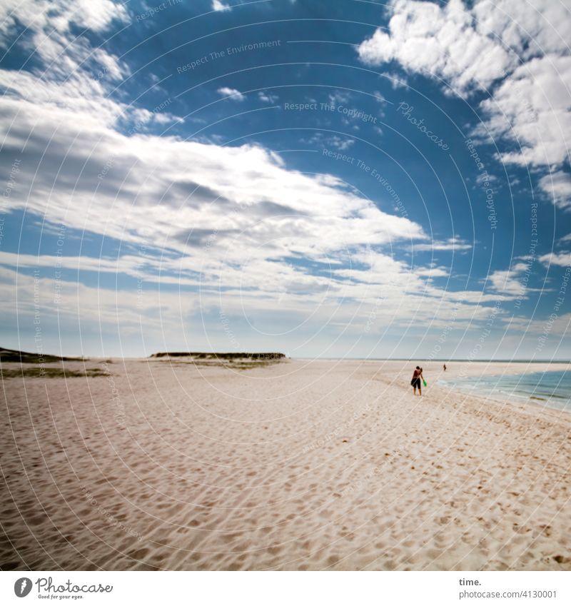 neulich in der Parallelwelt strand sand himmel küste wolken weite spuren meer düne stimmung freizeit sehnsucht fernweh urlaub reisen erholung lebenslinien