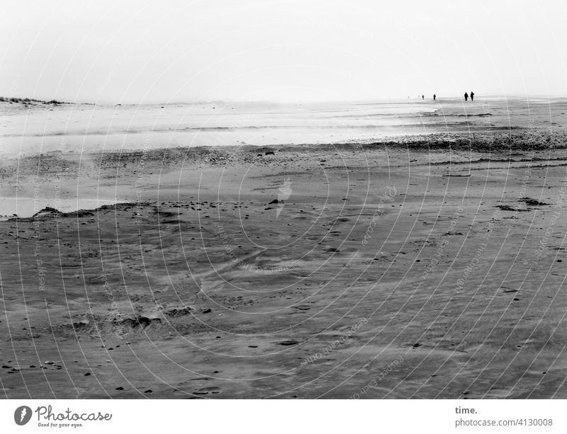 Landgang Strand sand horizont wasser nordsee meer ungastlich weite ferne spaziergang wandern wanderung küste grau düne