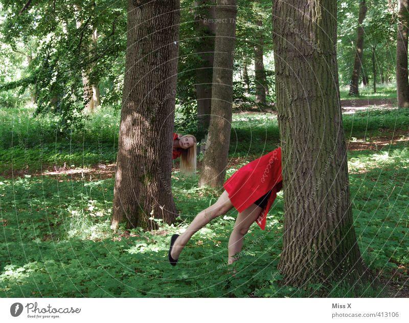 hier bin ich! Mensch Frau Jugendliche Baum rot Wald Erwachsene 18-30 Jahre feminin Spielen lustig beobachten Suche verstecken Baumstamm Märchen