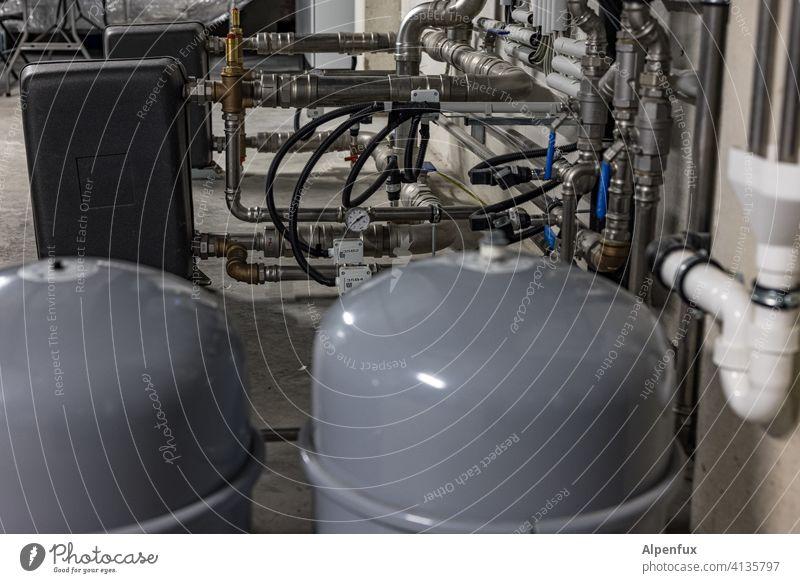 Installation VII Rohre installation Industrie Menschenleer Industrieanlage Haus Keller Heizung Heizungstechnik Wärmepumpe Luftwärmepumpe Wärmegewinnung