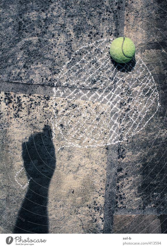 Deuce Lifestyle sportlich Fitness Freizeit & Hobby Sport Tennis Tennisball Schlägersport Hand Coolness lustig Gleichgewicht Spielen spielerisch Kreidezeichnung