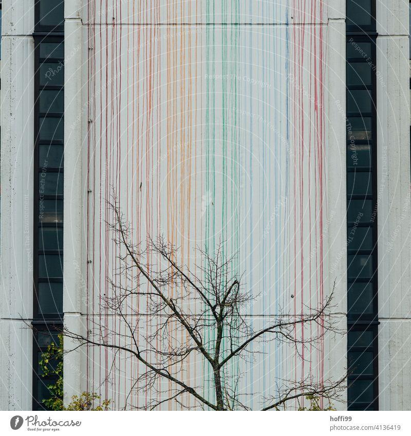kahler Baum vor bunt gestreifter Wand Frühling kahle Bäume Linie Moderne Architektur bunt gemischt minimalistisch Äste und Zweige urban junger baum Beginn Ast