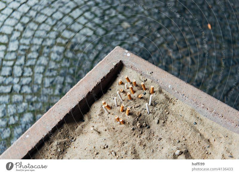 ausgedrückte Kippen im Sand Zigarettenstummel kippen Aschenbecher kippen ausdrücken ungesund Rauchen Zigarettenasche Tabakwaren Filterzigarette