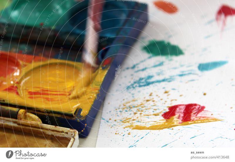 Action Painting Design Dekoration & Verzierung Kindergarten Kunst Künstler Maler Gemälde Papier Flüssigkeit nass mehrfarbig gelb grün rot Freude Tatkraft