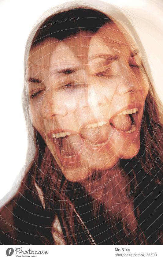 schreierei Wahnsinn Doppelbelichtung abstrakt außergewöhnlich Porträt Experiment skurril Wahnvorstellung Schizophrenie Gesicht Phantasie Alptraum
