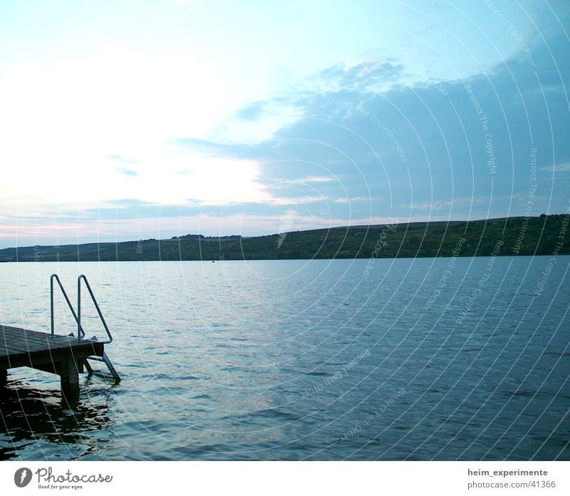 Süßer See Steg Sonnenuntergang Ferien & Urlaub & Reisen Abend Wolken Stil Naturphänomene Romantik Meer Strand Halbinsel aseleben Wasser Landschaft