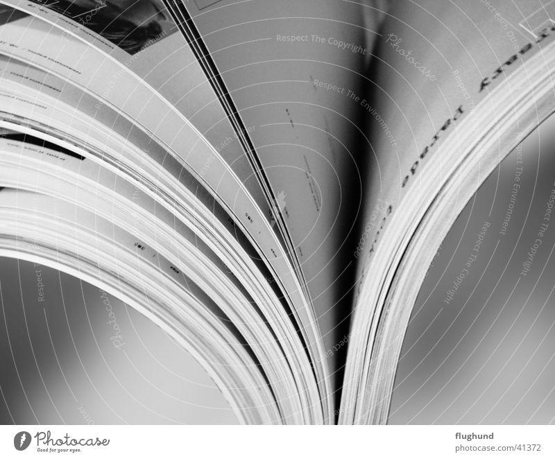 offenes Buch Prospekt Stock aufmachen Papier blättern Seite Schwarzweißfoto Makroaufnahme bildkatalog