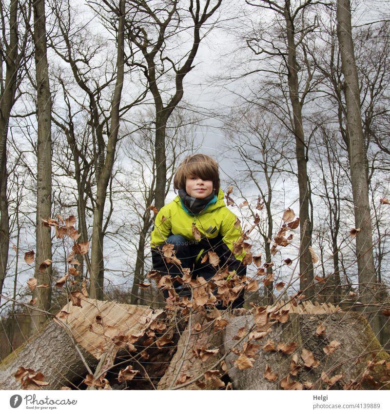 Kind hockt im Buchenwald auf einem dicken abgesägten Baumstumpf und schaut in die Kamera Mensch Schulkind Wald Frühling Himmel Wolken Jacke hocken schauen Blick