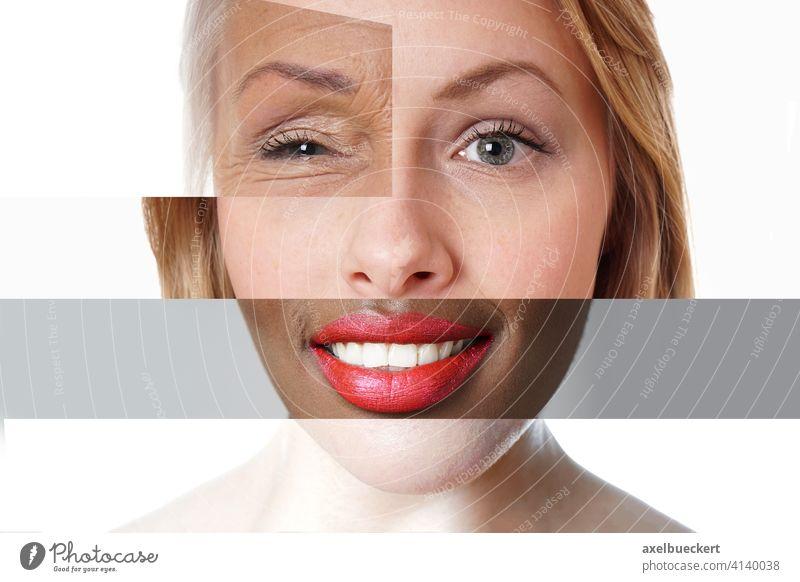 zusammengesetztes Gesicht aus multiethnischen Frauen unterschiedlichen Alters Vielfalt Diversität Collage Menschen Montage Lebensalter gemischt anders Porträt