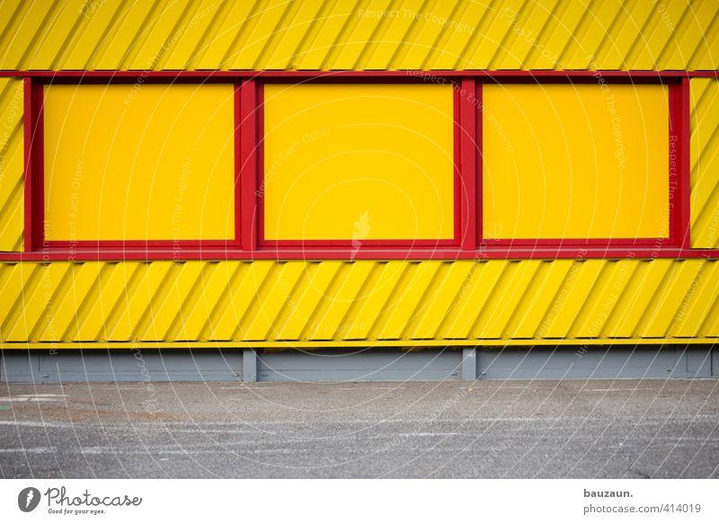 aussichtslos. Farbe rot ruhig Fenster gelb Wand Wege & Pfade Gebäude Mauer grau Stein Linie Fassade Metall Büro Beton