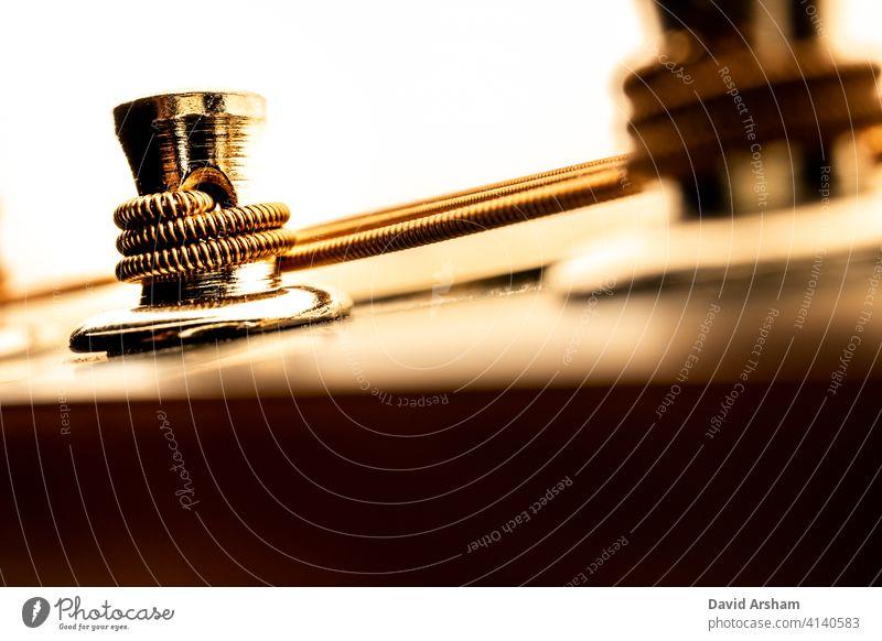 Nahaufnahme des Mandolinen-Stimmstocks von unten Instrument Musikinstrument keine Menschen Abstimmposten Country-Musik braun Spindelstock modern Makro Leute