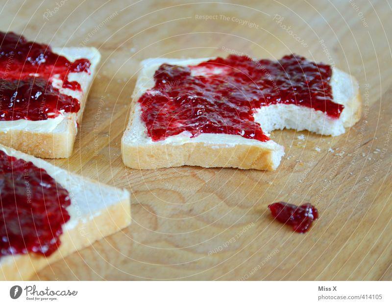 Marmeladenklexx Lebensmittel Teigwaren Backwaren Brot Ernährung Essen Frühstück lecker süß Appetit & Hunger Erdbeermarmelade klecksen Tropfen Fleck