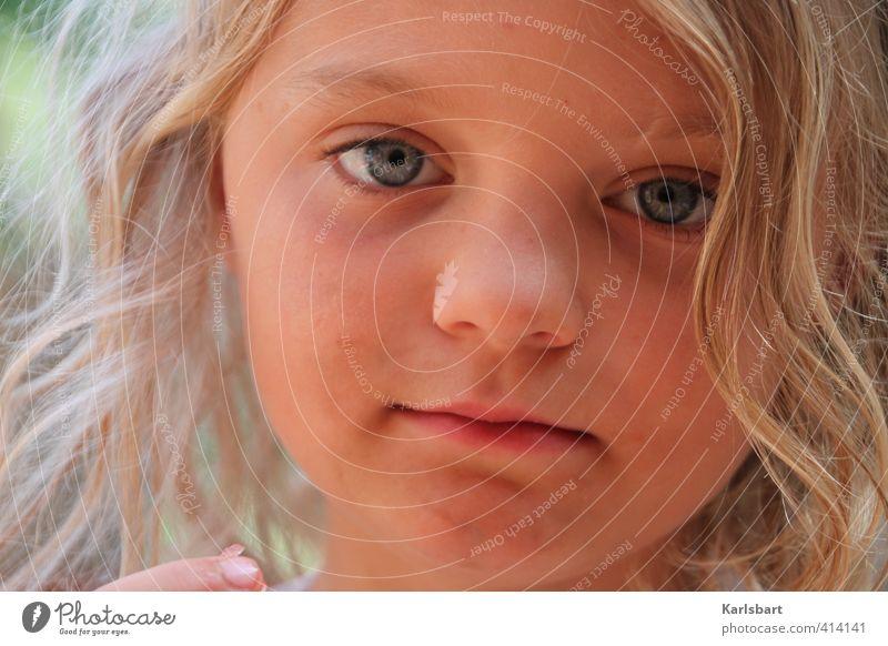 Puste Blume Mensch Kind Natur Sommer Mädchen Gesicht Umwelt Leben Gefühle Glück Kopf Gesundheit Freizeit & Hobby blond Kindheit lernen