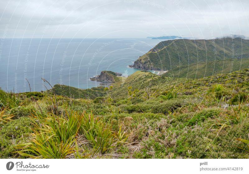 Cape Reinga in Neuseeland Kap Reininga te rerenga wairua Aupori-Halbinsel Nordinsel Küste Küstenstreifen MEER Meer Landschaft Tasmanische See Pazifik felsig