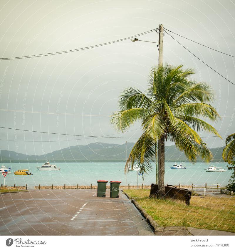 Blackall Street Ferne Klimawandel exotisch Palme Wiese Küste Pazifik Insel Verkehrswege Straße Jacht Motorboot Wärme Stimmung ruhig Idylle Umwelt Wege & Pfade