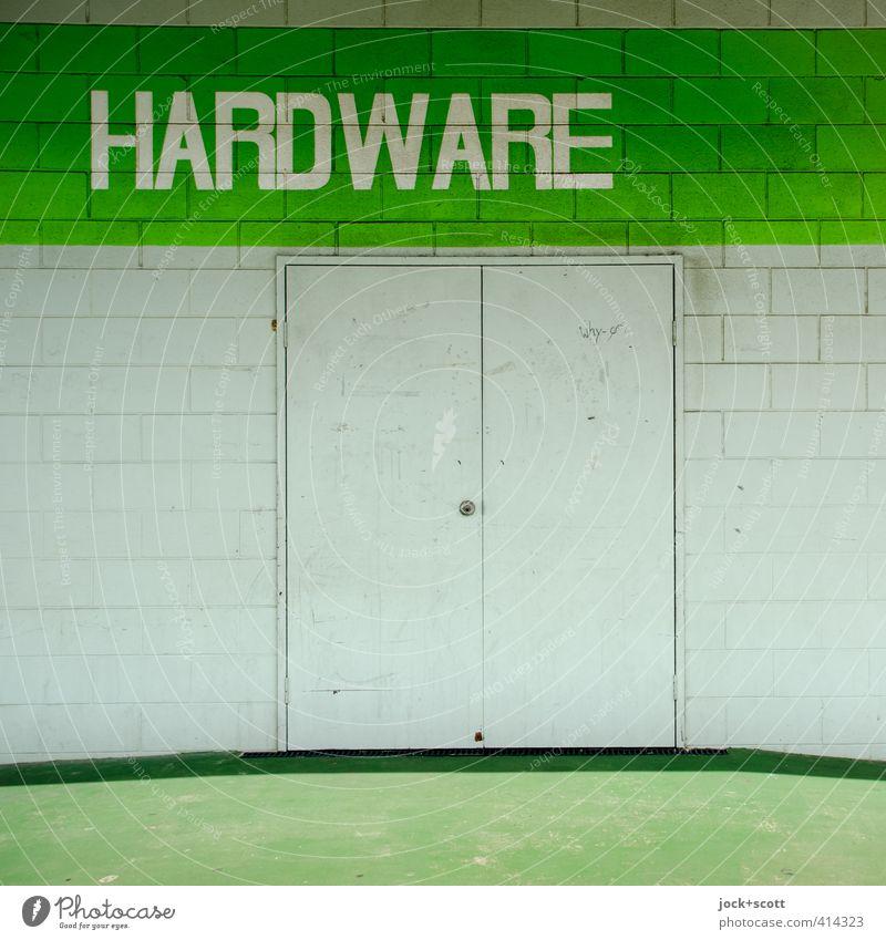 Hardware Store grün weiß Architektur Gebäude Linie Metall modern Beginn einfach Streifen Sauberkeit Metallwaren Ziel neu fest Backstein