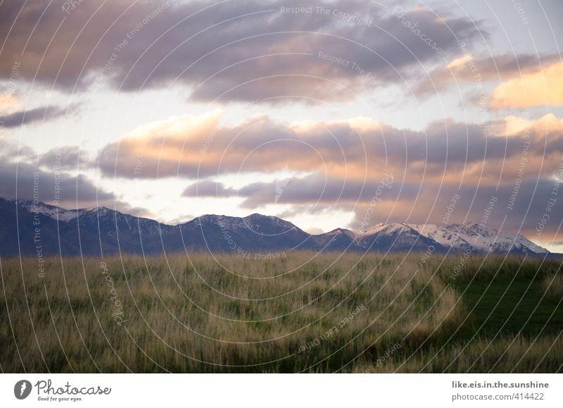 stille. und mein moment. Himmel Natur Erholung Einsamkeit Landschaft ruhig Wolken Ferne Umwelt Berge u. Gebirge Wiese Gras Wege & Pfade Freiheit Zufriedenheit wandern