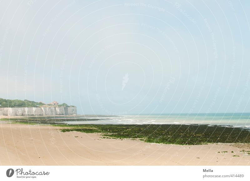 Abgebrochenes Land Umwelt Natur Landschaft Sand Himmel Algen Küste Strand Nordsee Meer England Kent Europa lang natürlich Einsamkeit Erholung ruhig Ferne