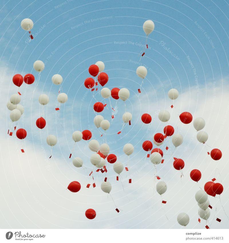 1000 Wünsche Glück Feste & Feiern Hochzeit Geburtstag Paar Partner Himmel Zeichen fliegen frei Unendlichkeit rot weiß Liebe Romantik Luftballon Zettel Wunsch