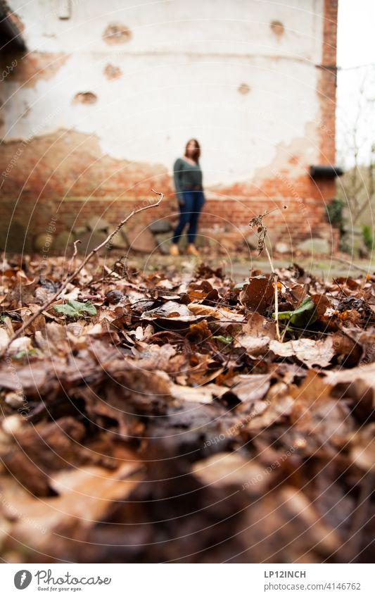 Beobachtet Frau Voyeurismus Boden Blätter beobachten entdecken Angst Unwohlsein gruselig verstecken