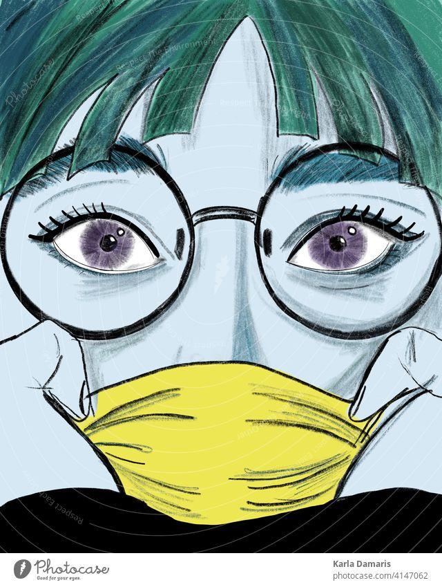 Illustration einer Frau mit blauer Haut und einer gelben Maske und grünen Haaren Lippe Charakter Comic Rede Mädchen Überraschung Hintergrund Mund offen retro