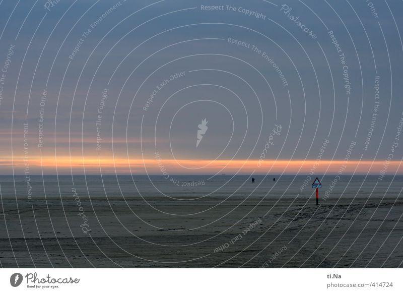 SPO | Licht am Horizont blau Sommer rot Einsamkeit Erholung Küste grau orange Tourismus Unendlichkeit Nordsee St. Peter-Ording Eiderstedt