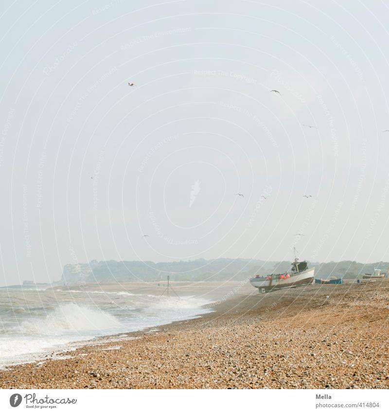 Fischers freier Tag Himmel Natur Ferien & Urlaub & Reisen Wasser Meer Erholung ruhig Landschaft Strand Umwelt Küste Sand Wasserfahrzeug Wellen Pause Sehnsucht