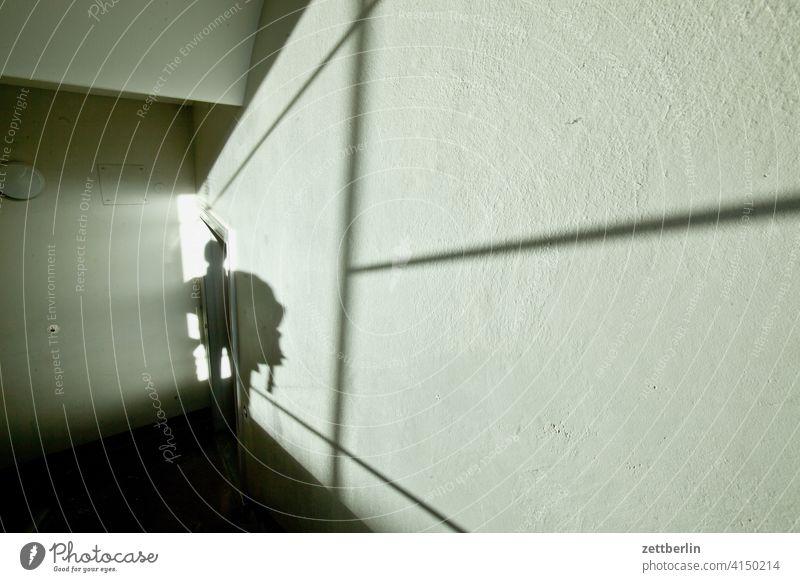 Noch ein Schatten im Treppenhaus absatz abstieg abwärts altbau aufstieg aufwärts licht mann mehrfamilienhaus mensch menschenleer mietshaus schatten stufe