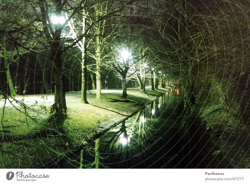 The Green Mile Nacht Bach Licht Reflexion & Spiegelung Lampe Abend dunkel grün Wiese Wasser Lichtschein