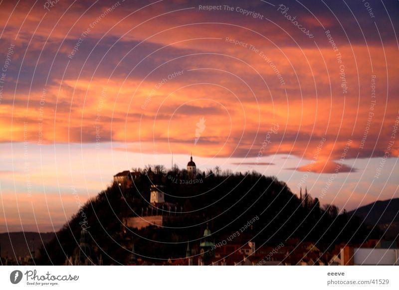 abendrot Himmel Wolken Graz Österreich Bundesland Steiermark